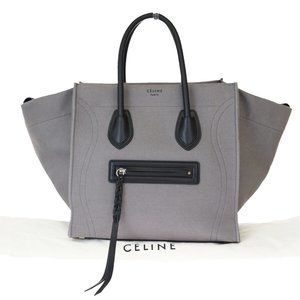 CELINE Luggage Phantom Hand Bag Leather Canvas Gra